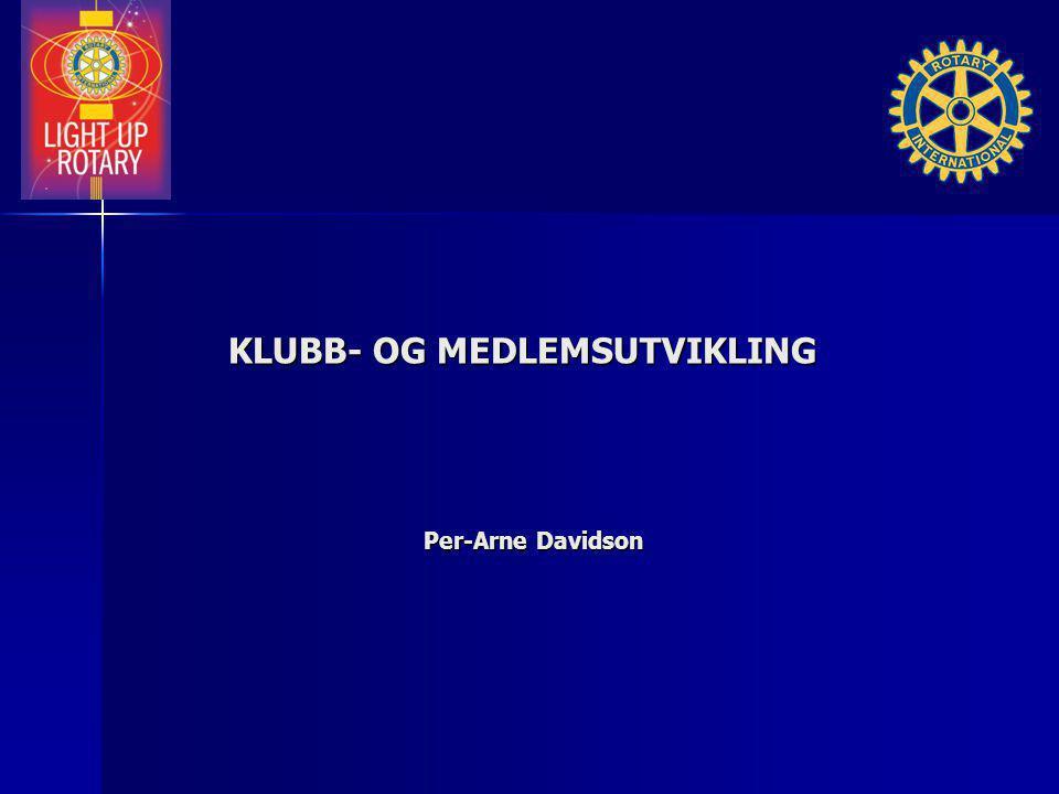 KLUBB- OG MEDLEMSUTVIKLING KLUBB- OG MEDLEMSUTVIKLING Per-Arne Davidson
