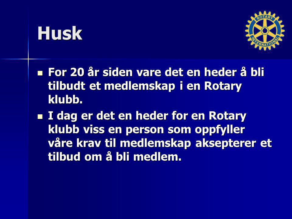 Husk For 20 år siden vare det en heder å bli tilbudt et medlemskap i en Rotary klubb.