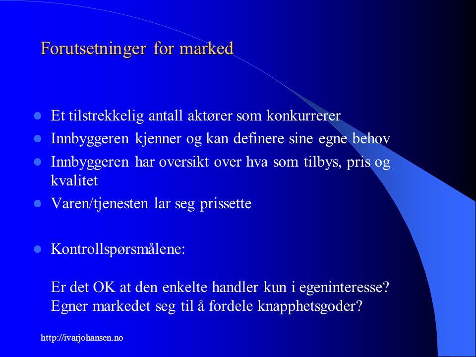 http://ivarjohansen.no Forutsetninger for marked Et tilstrekkelig antall aktører som konkurrerer Innbyggeren kjenner og kan definere sine egne behov I