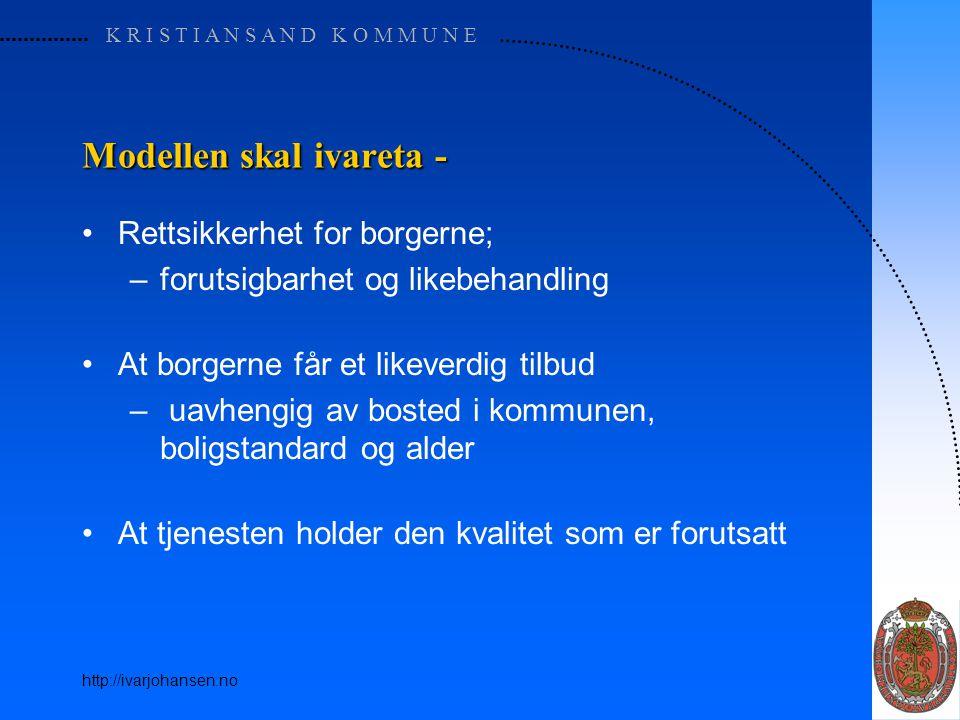 K R I S T I A N S A N D K O M M U N E http://ivarjohansen.no Modellen skal ivareta - Rettsikkerhet for borgerne; –forutsigbarhet og likebehandling At