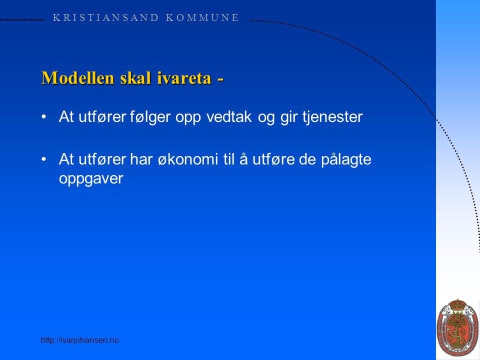 K R I S T I A N S A N D K O M M U N E http://ivarjohansen.no Modellen skal ivareta - At utfører følger opp vedtak og gir tjenester At utfører har økon