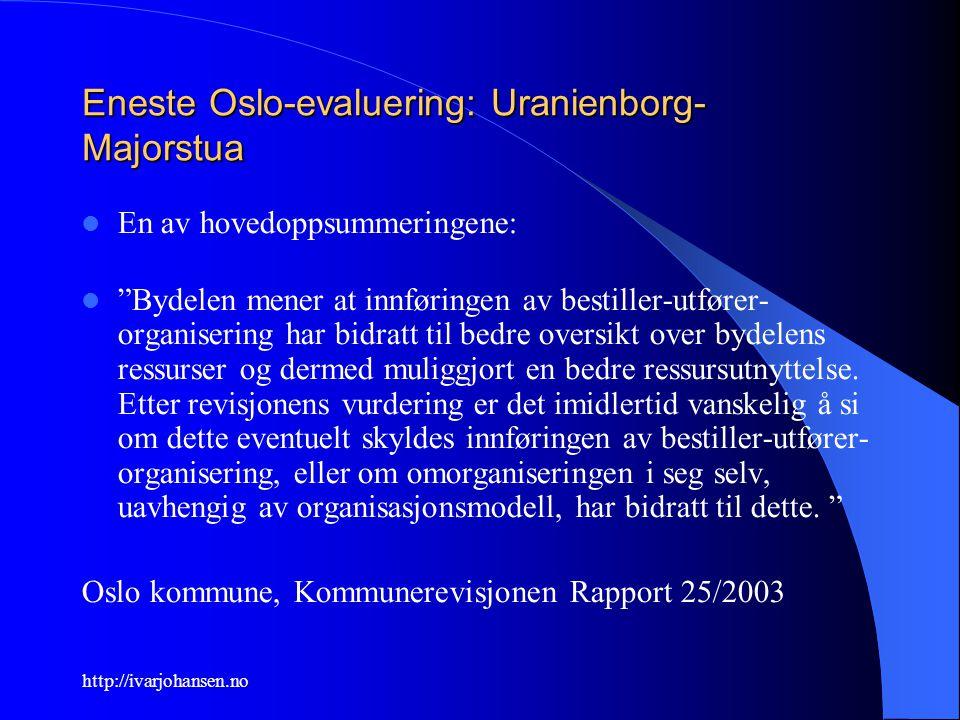 """http://ivarjohansen.no Eneste Oslo-evaluering: Uranienborg- Majorstua En av hovedoppsummeringene: """"Bydelen mener at innføringen av bestiller-utfører-"""