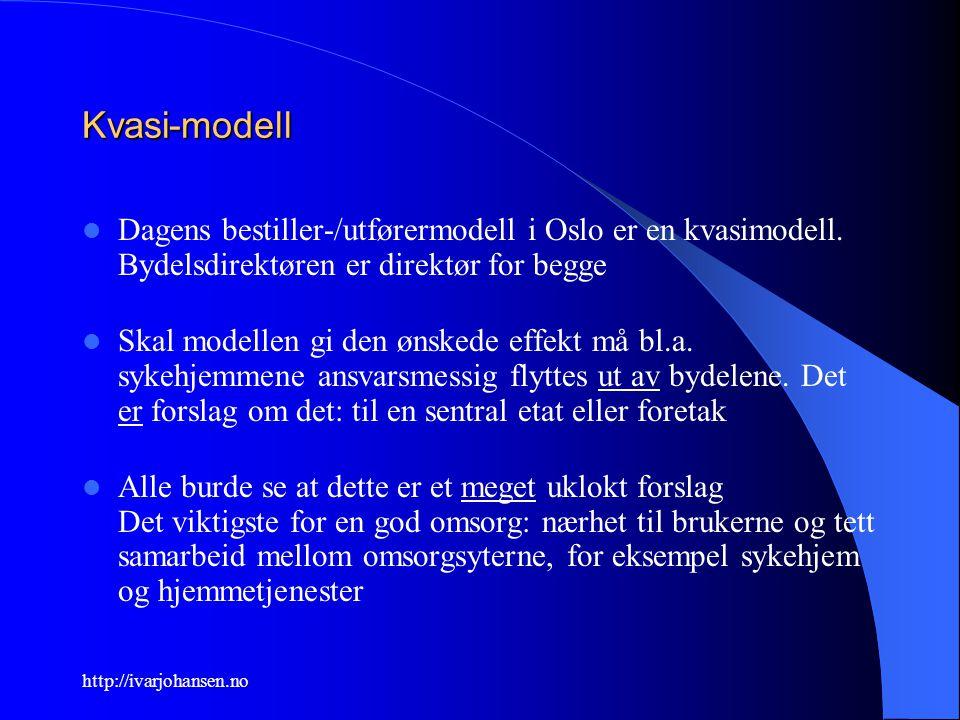 http://ivarjohansen.no Kvasi-modell Dagens bestiller-/utførermodell i Oslo er en kvasimodell. Bydelsdirektøren er direktør for begge Skal modellen gi