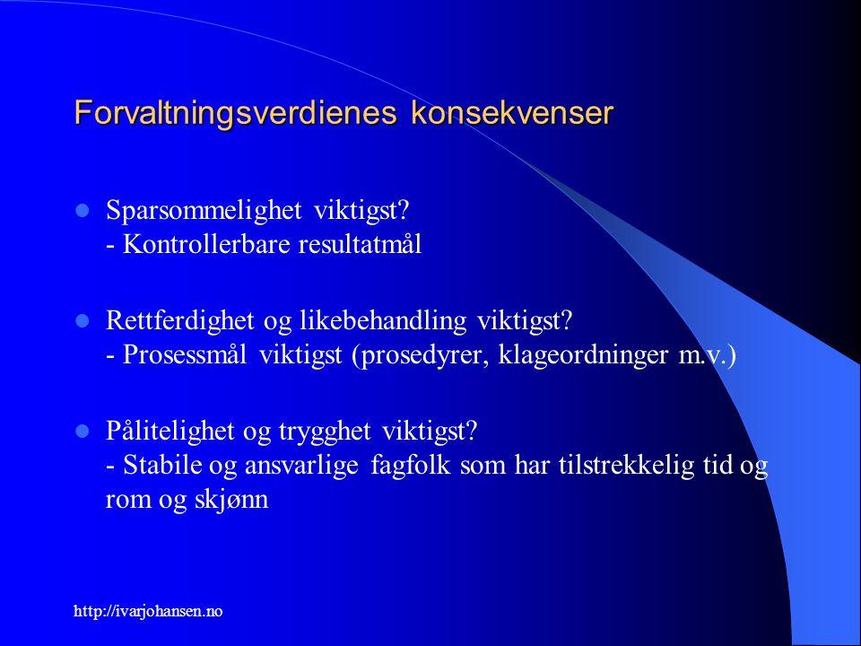 http://ivarjohansen.no Forvaltningsverdienes konsekvenser Sparsommelighet viktigst? - Kontrollerbare resultatmål Rettferdighet og likebehandling vikti