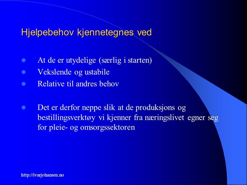 http://ivarjohansen.no Hjelpebehov kjennetegnes ved At de er utydelige (særlig i starten) Vekslende og ustabile Relative til andres behov Det er derfo