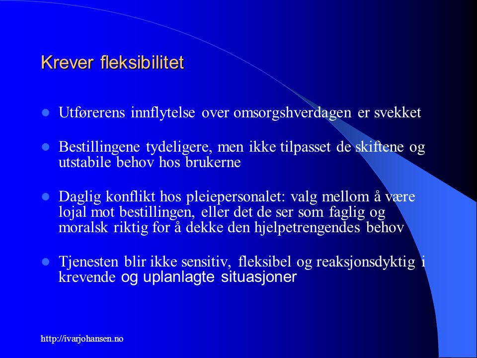 http://ivarjohansen.no Krever fleksibilitet Utførerens innflytelse over omsorgshverdagen er svekket Bestillingene tydeligere, men ikke tilpasset de sk