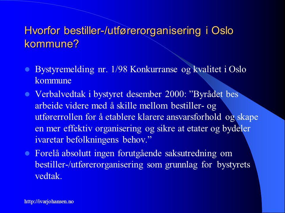 http://ivarjohansen.no Hvorfor bestiller-/utførerorganisering i Oslo kommune? Bystyremelding nr. 1/98 Konkurranse og kvalitet i Oslo kommune Verbalved