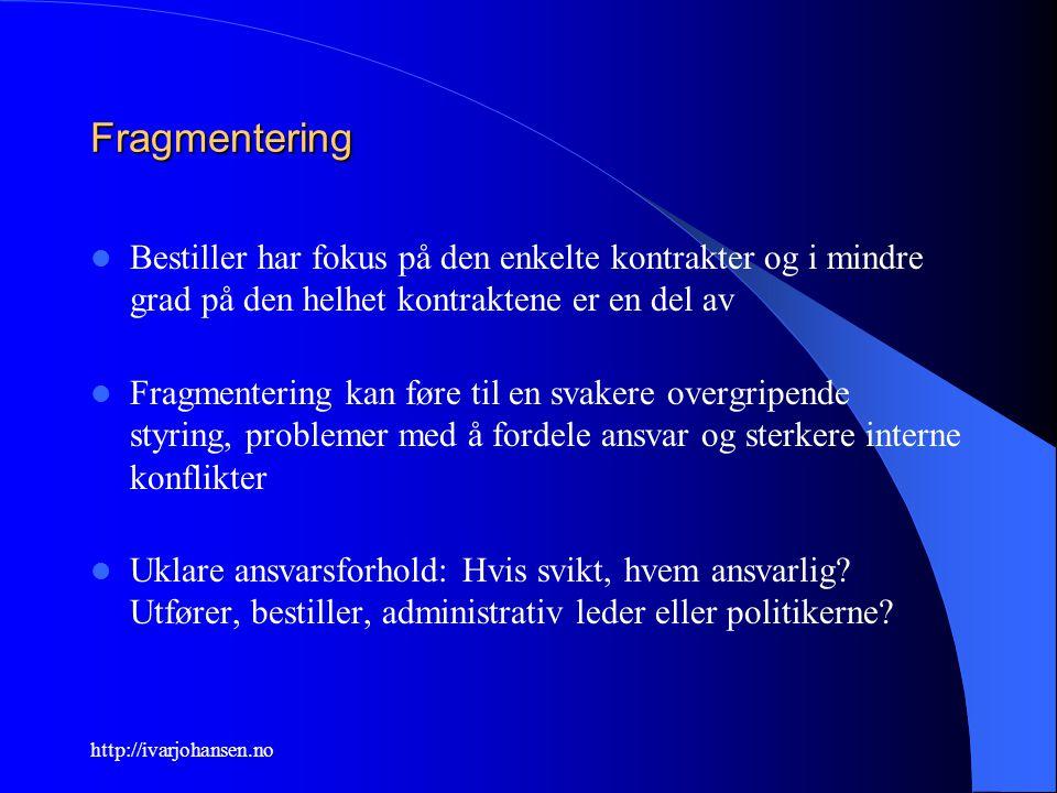 http://ivarjohansen.no Fragmentering Bestiller har fokus på den enkelte kontrakter og i mindre grad på den helhet kontraktene er en del av Fragmenteri