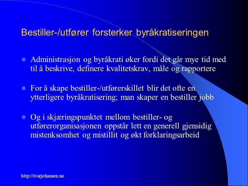http://ivarjohansen.no Bestiller-/utfører forsterker byråkratiseringen Administrasjon og byråkrati øker fordi det går mye tid med til å beskrive, defi