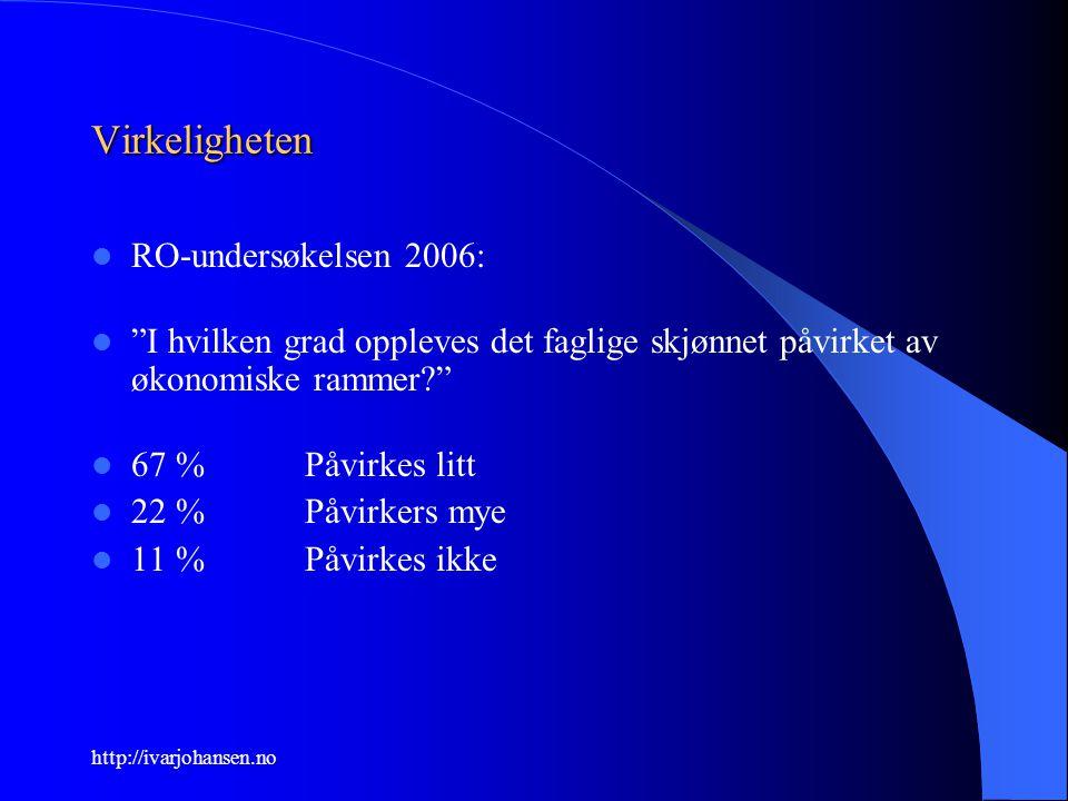 """http://ivarjohansen.no Virkeligheten RO-undersøkelsen 2006: """"I hvilken grad oppleves det faglige skjønnet påvirket av økonomiske rammer?"""" 67 %Påvirkes"""