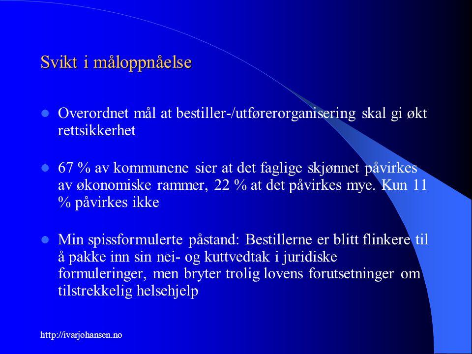 http://ivarjohansen.no Svikt i måloppnåelse Overordnet mål at bestiller-/utførerorganisering skal gi økt rettsikkerhet 67 % av kommunene sier at det f