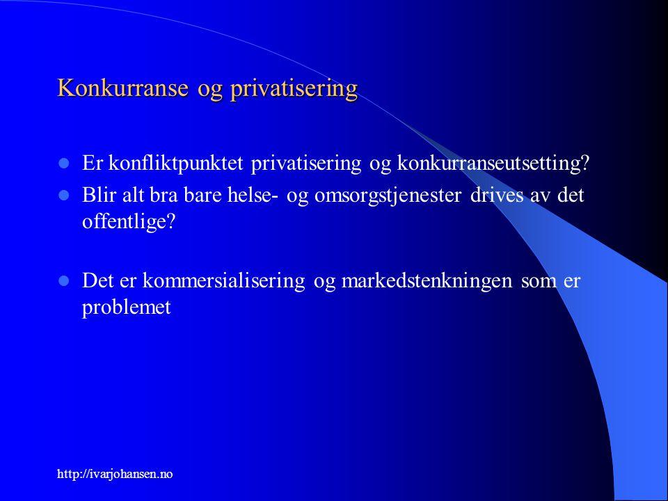 http://ivarjohansen.no Konkurranse og privatisering Er konfliktpunktet privatisering og konkurranseutsetting? Blir alt bra bare helse- og omsorgstjene