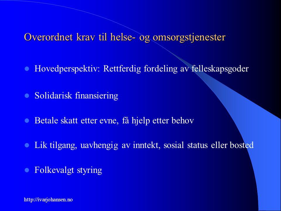 http://ivarjohansen.no Overordnet krav til helse- og omsorgstjenester Hovedperspektiv: Rettferdig fordeling av felleskapsgoder Solidarisk finansiering