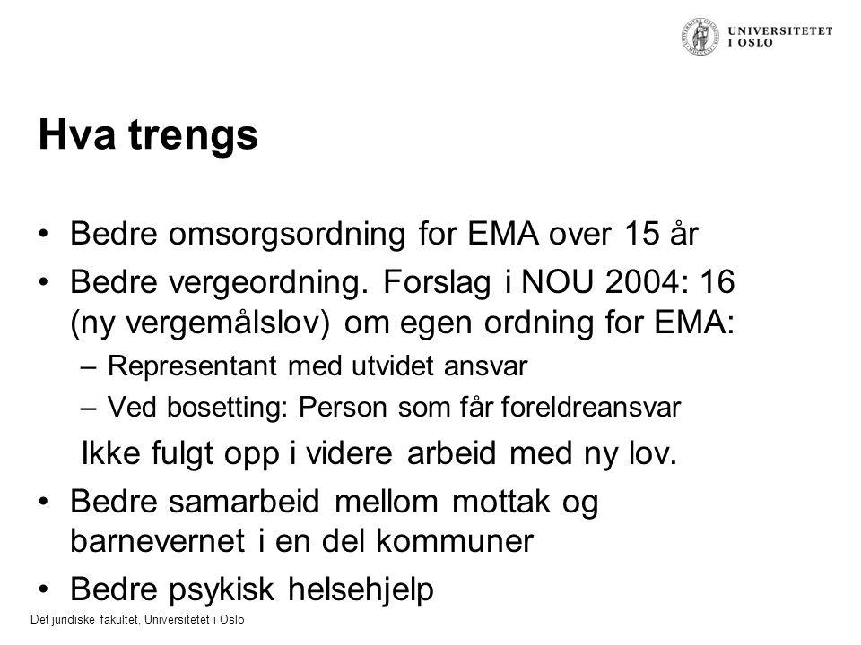 Det juridiske fakultet, Universitetet i Oslo Hva trengs Bedre omsorgsordning for EMA over 15 år Bedre vergeordning. Forslag i NOU 2004: 16 (ny vergemå