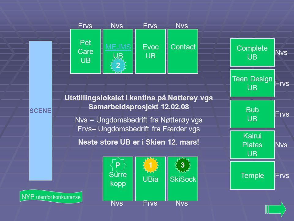 Utstillingslokalet i kantina på Nøtterøy vgs Samarbeidsprosjekt 12.02.08 Nvs = Ungdomsbedrift fra Nøtterøy vgs Frvs= Ungdomsbedrift fra Færder vgs Neste store UB er i Skien 12.