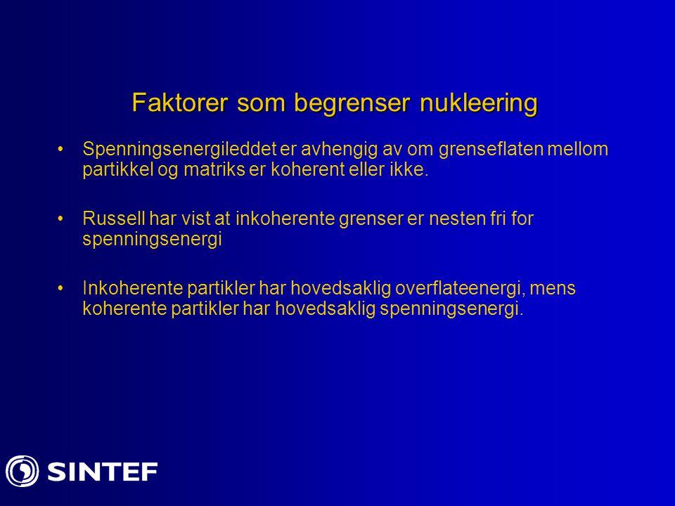 Faktorer som begrenser nukleering Spenningsenergileddet er avhengig av om grenseflaten mellom partikkel og matriks er koherent eller ikke. Russell har