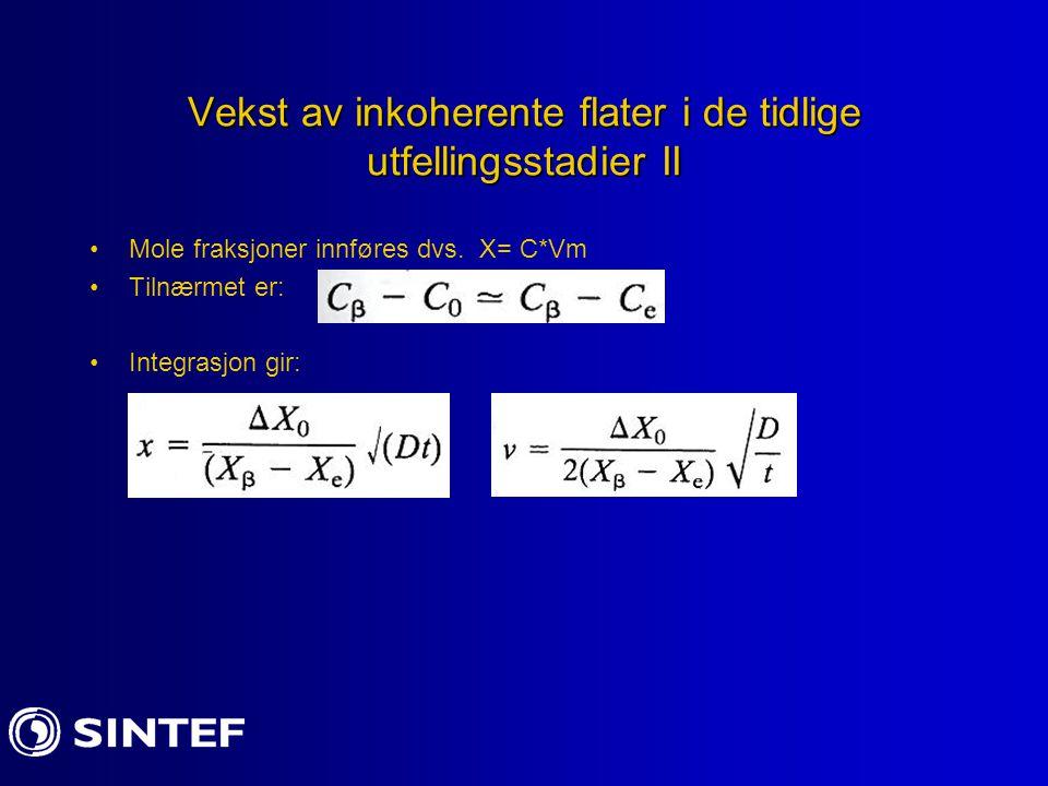Vekst av inkoherente flater i de tidlige utfellingsstadier II Mole fraksjoner innføres dvs. X= C*Vm Tilnærmet er: Integrasjon gir: