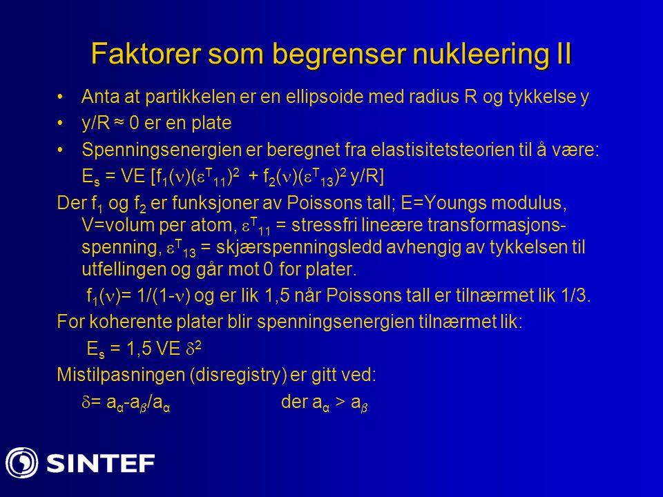 Faktorer som begrenser nukleering III For koherente plater med radius r og tykkelse t: E s = 1,5 (  r 2 t)E  2 For inkoherente partikler er overflateenergien: E s =  (2  r 2 + 2  rt) Den kritiske størrelsen er for en tykkelse der disse leddene er like dvs.: 3rt cr E  2 = 4  (r + t cr ) eller t cr = (4  /3E  ) [1 + (1/A)] –der A =r/t t cr er typisk av størrelse 1-10nm dvs.
