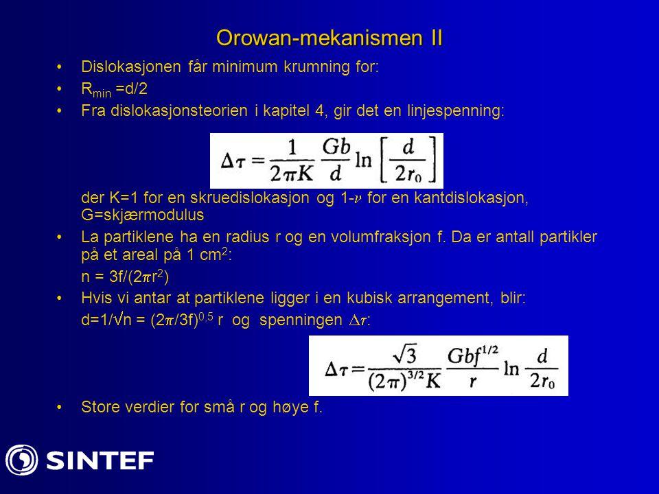 Orowan-mekanismen II Dislokasjonen får minimum krumning for: R min =d/2 Fra dislokasjonsteorien i kapitel 4, gir det en linjespenning: der K=1 for en