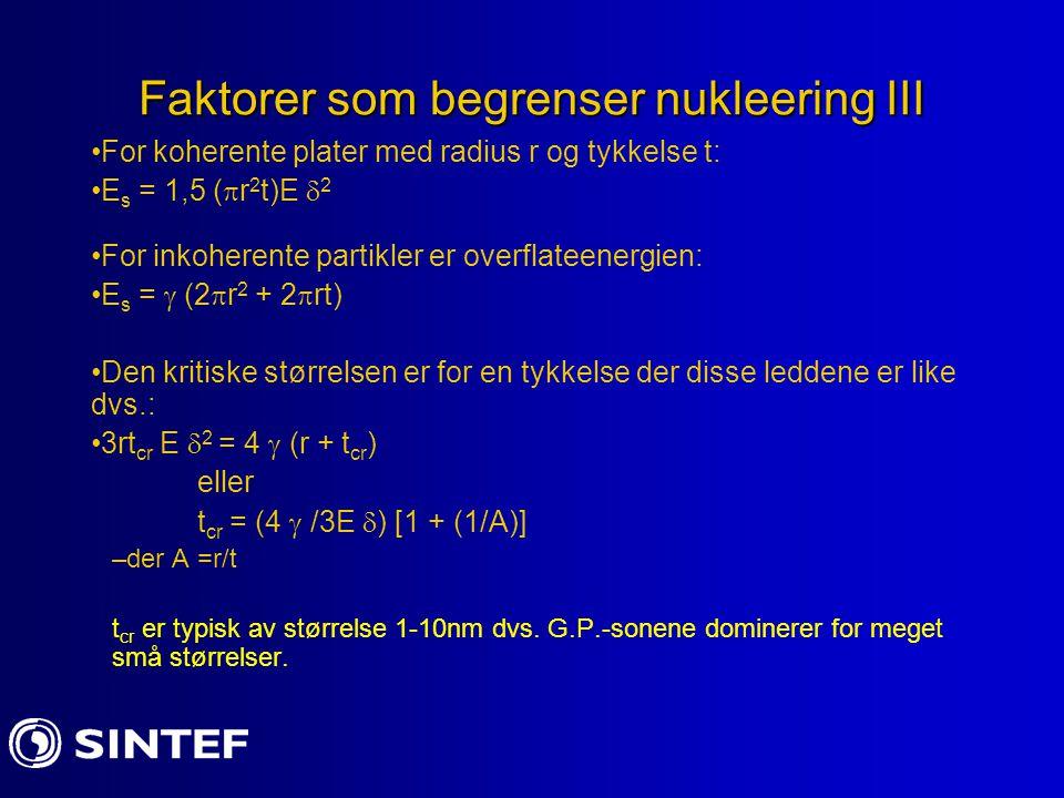 Faktorer som begrenser nukleering III For koherente plater med radius r og tykkelse t: E s = 1,5 (  r 2 t)E  2 For inkoherente partikler er overflat
