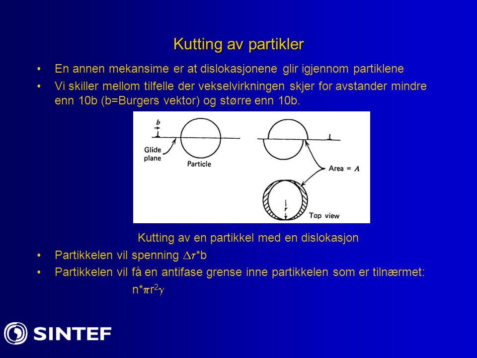 Kutting av partikler En annen mekansime er at dislokasjonene glir igjennom partiklene Vi skiller mellom tilfelle der vekselvirkningen skjer for avstan