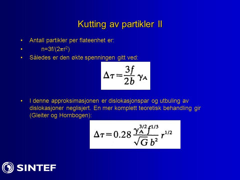 Kutting av partikler II Antall partikler per flateenhet er: n=3f/(2  r 2 ) Således er den økte spenningen gitt ved: I denne approksimasjonen er dislo