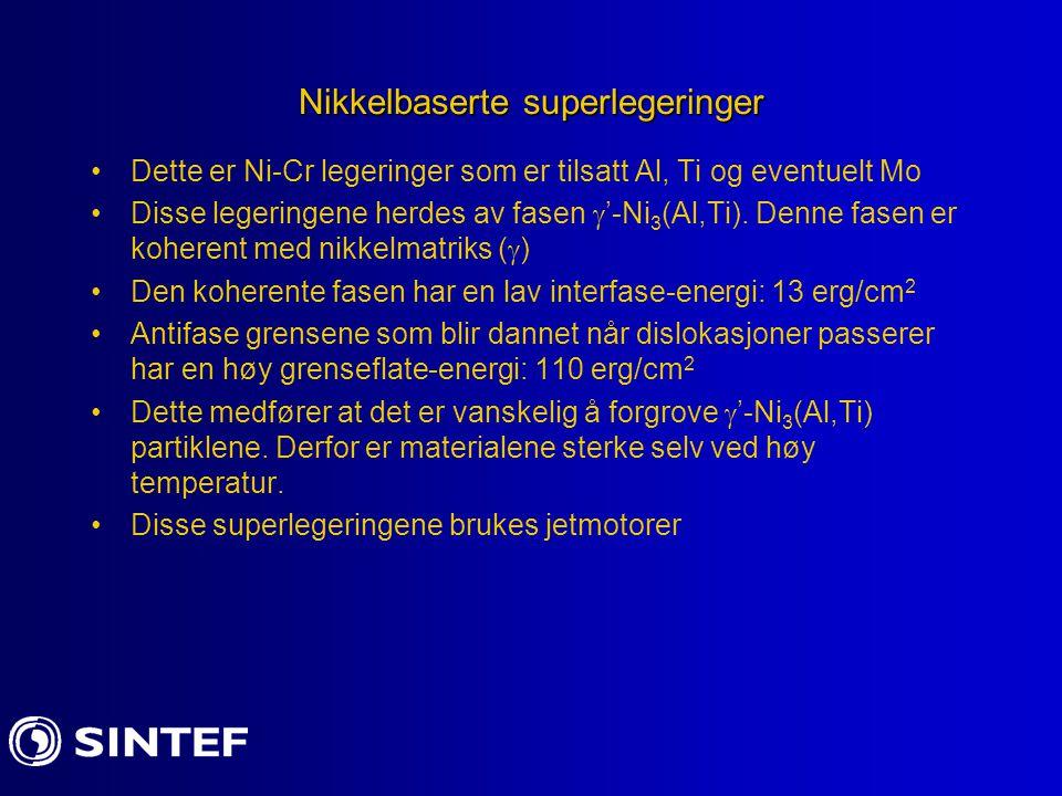 Nikkelbaserte superlegeringer Dette er Ni-Cr legeringer som er tilsatt Al, Ti og eventuelt Mo Disse legeringene herdes av fasen  '-Ni 3 (Al,Ti). Denn