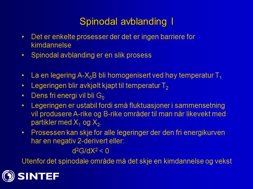 Spinodal avblanding I Det er enkelte prosesser der det er ingen barriere for kimdannelse Spinodal avblanding er en slik prosess La en legering A-X 0 B