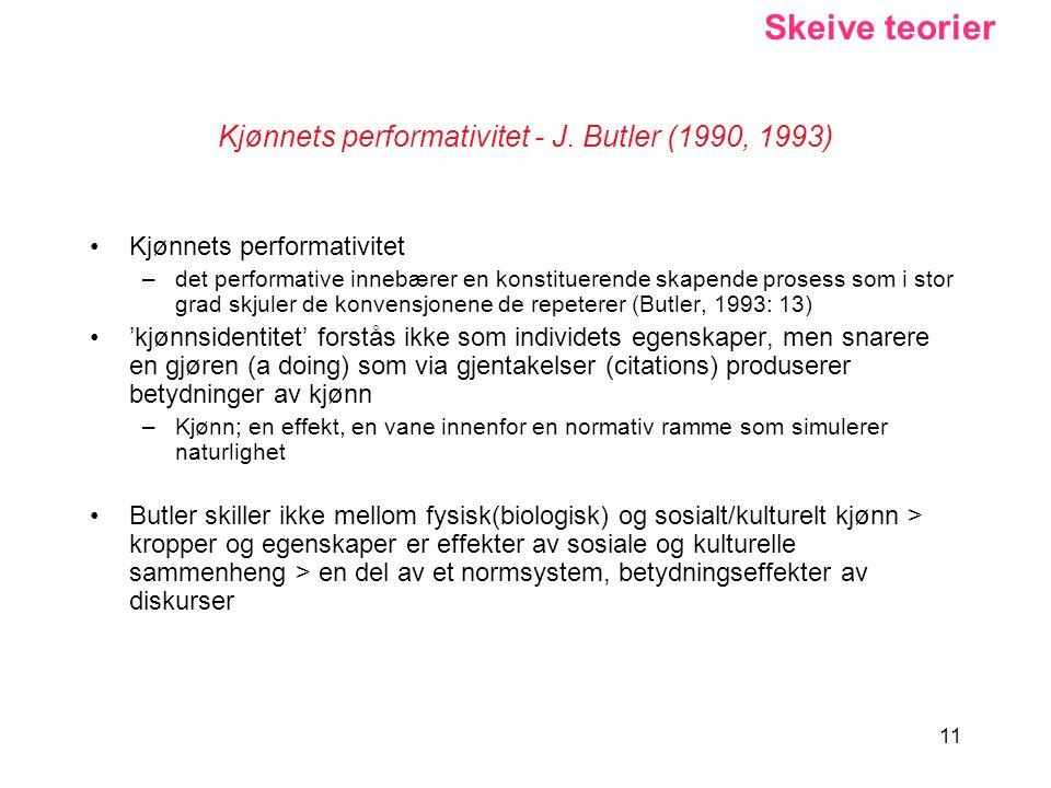 11 Kjønnets performativitet - J. Butler (1990, 1993) Kjønnets performativitet –det performative innebærer en konstituerende skapende prosess som i sto