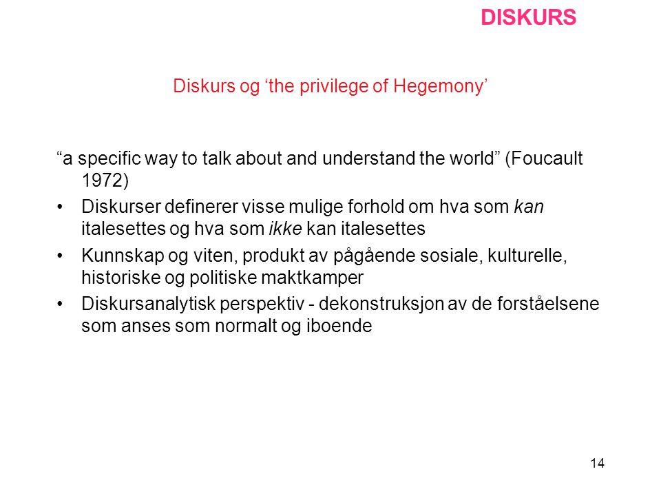 "14 Diskurs og 'the privilege of Hegemony' ""a specific way to talk about and understand the world"" (Foucault 1972) Diskurser definerer visse mulige for"