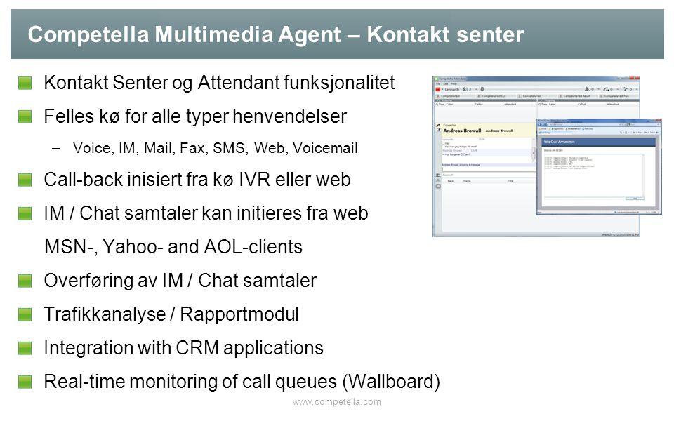Competella Multimedia Agent – Kontakt senter Kontakt Senter og Attendant funksjonalitet Felles kø for alle typer henvendelser –Voice, IM, Mail, Fax, S