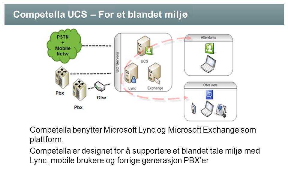 Competella UCS – For et blandet miljø Competella benytter Microsoft Lync og Microsoft Exchange som plattform. Competella er designet for å supportere