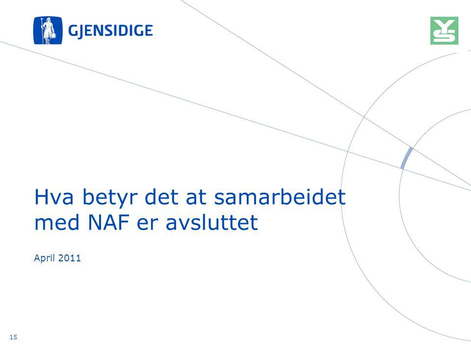 April 2011 Hva betyr det at samarbeidet med NAF er avsluttet 15