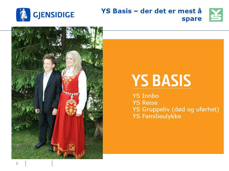 YS Basis – der det er mest å spare 2 YS Innbo YS Reise YS Gruppeliv (død og uførhet) YS Familieulykke