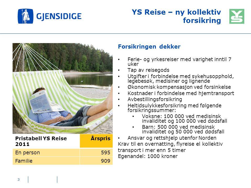 YS Reise – ny kollektiv forsikring Forsikringen dekker Ferie- og yrkesreiser med varighet inntil 7 uker Tap av reisegods Utgifter i forbindelse med sy