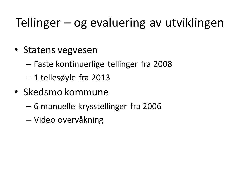 Tellinger – og evaluering av utviklingen Statens vegvesen – Faste kontinuerlige tellinger fra 2008 – 1 tellesøyle fra 2013 Skedsmo kommune – 6 manuell