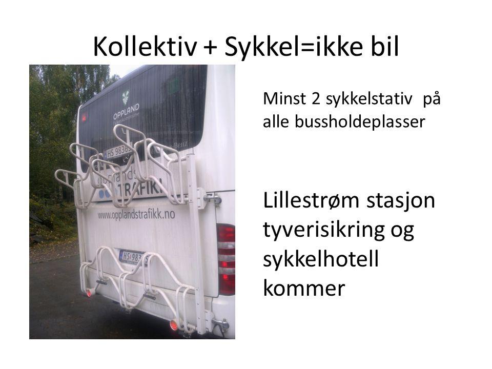 Kollektiv + Sykkel=ikke bil Lillestrøm stasjon tyverisikring og sykkelhotell kommer Minst 2 sykkelstativ på alle bussholdeplasser