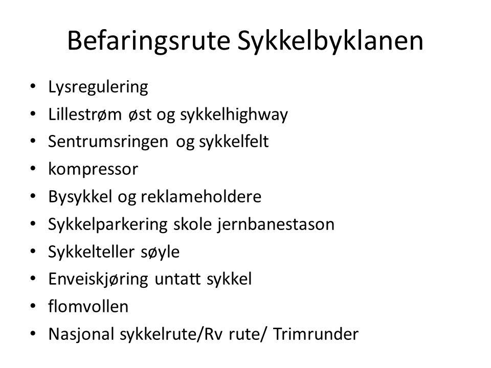 Befaringsrute Sykkelbyklanen Lysregulering Lillestrøm øst og sykkelhighway Sentrumsringen og sykkelfelt kompressor Bysykkel og reklameholdere Sykkelpa