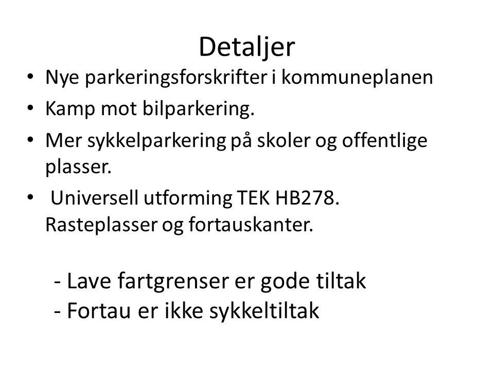 Detaljer Nye parkeringsforskrifter i kommuneplanen Kamp mot bilparkering. Mer sykkelparkering på skoler og offentlige plasser. Universell utforming TE