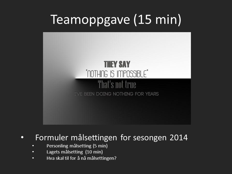 Teamoppgave (15 min) Formuler målsettingen for sesongen 2014 Personling målsetting (5 min) Lagets målsetting (10 min) Hva skal til for å nå målsetting