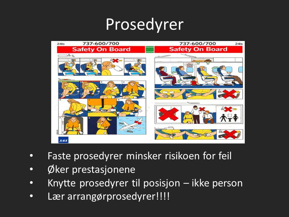 Prosedyrer Faste prosedyrer minsker risikoen for feil Øker prestasjonene Knytte prosedyrer til posisjon – ikke person Lær arrangørprosedyrer!!!!