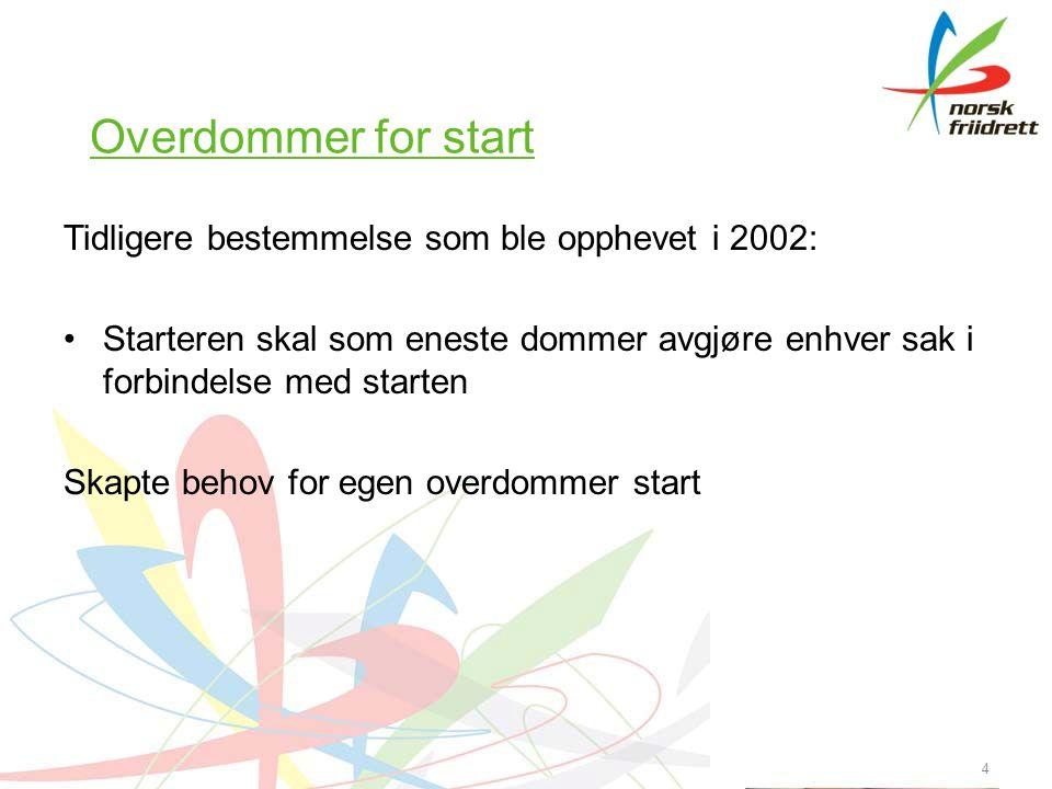 4 Overdommer for start Tidligere bestemmelse som ble opphevet i 2002: Starteren skal som eneste dommer avgjøre enhver sak i forbindelse med starten Skapte behov for egen overdommer start