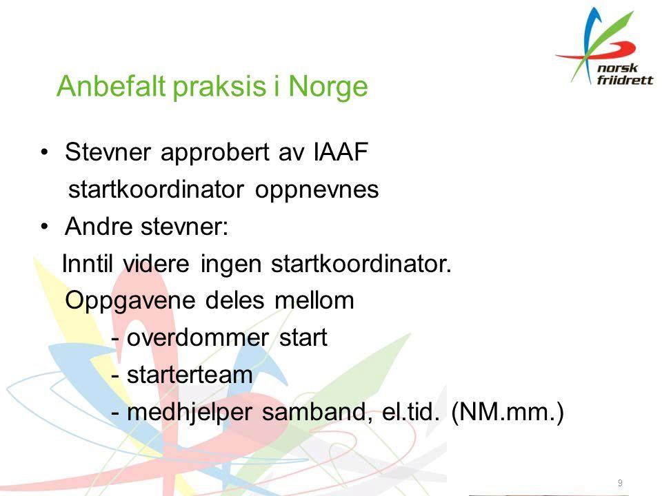 9 Anbefalt praksis i Norge Stevner approbert av IAAF startkoordinator oppnevnes Andre stevner: Inntil videre ingen startkoordinator.