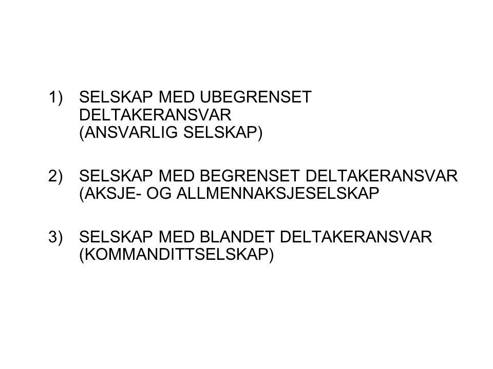 1) SELSKAP MED UBEGRENSET DELTAKERANSVAR (ANSVARLIG SELSKAP) 2) SELSKAP MED BEGRENSET DELTAKERANSVAR (AKSJE- OG ALLMENNAKSJESELSKAP 3) SELSKAP MED BLANDET DELTAKERANSVAR (KOMMANDITTSELSKAP)