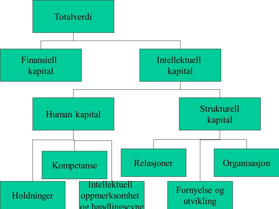 Holdninger Intellektuell oppmerksomhet og handlingsevne Fornyelse og utvikling RelasjonerOrganisasjon Human kapital Strukturell kapital Intellektuell kapital Finansiell kapital Totalverdi Kompetanse