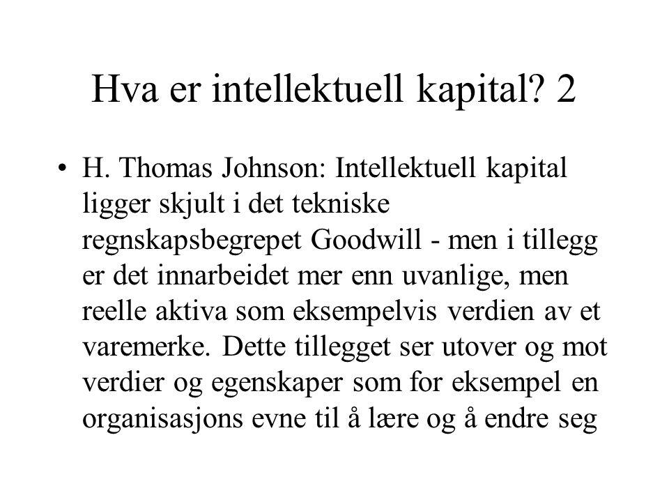 Hva er intellektuell kapital. 2 H.