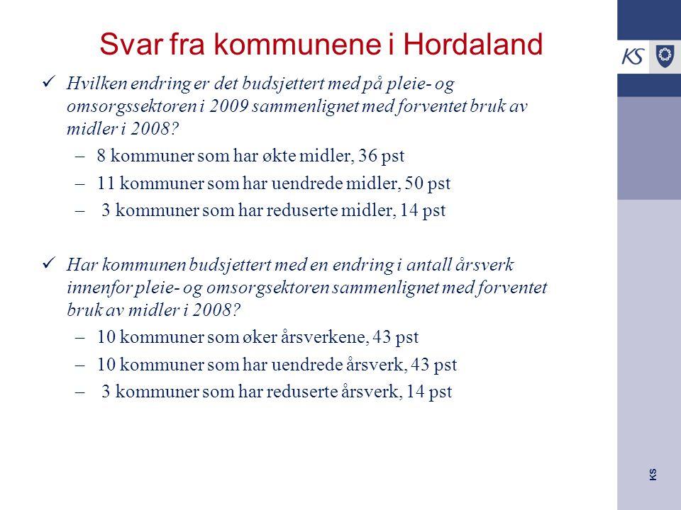 KS Svar fra kommunene i Hordaland Hvilken endring er det budsjettert med på pleie- og omsorgssektoren i 2009 sammenlignet med forventet bruk av midler i 2008.
