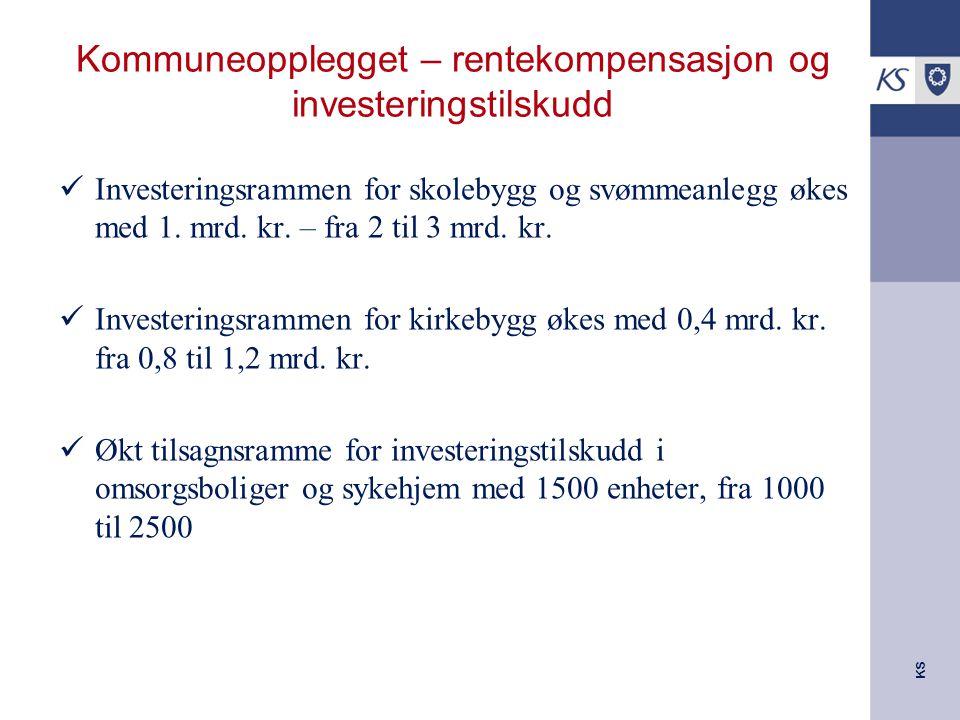 KS Kommuneopplegget – rentekompensasjon og investeringstilskudd Investeringsrammen for skolebygg og svømmeanlegg økes med 1.