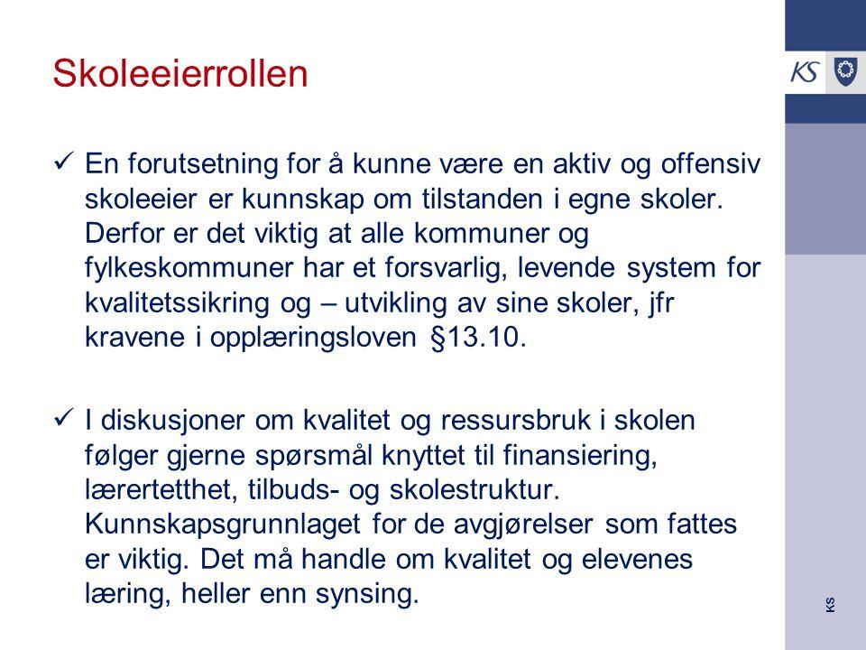 KS Skoleeierrollen En forutsetning for å kunne være en aktiv og offensiv skoleeier er kunnskap om tilstanden i egne skoler.