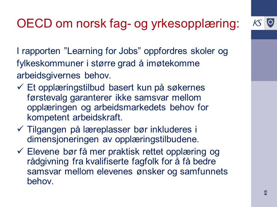 KS OECD om norsk fag- og yrkesopplæring: I rapporten Learning for Jobs oppfordres skoler og fylkeskommuner i større grad å imøtekomme arbeidsgivernes behov.